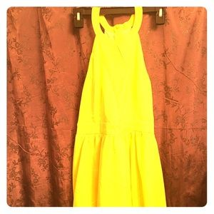 "Sexy yellow fun and flirty ""skater style "" dress"